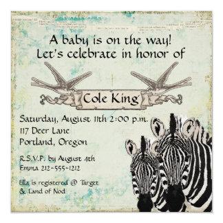 Vintage Zebras  Baby Invitation