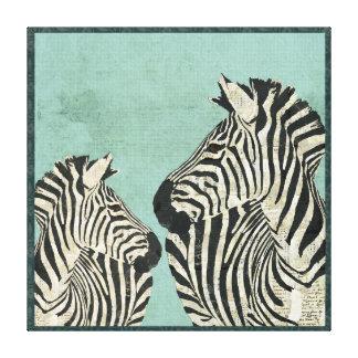 Vintage Zebras Blue Art Canvas