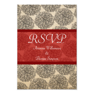 Vintage Zinnia Response Card, Red Card