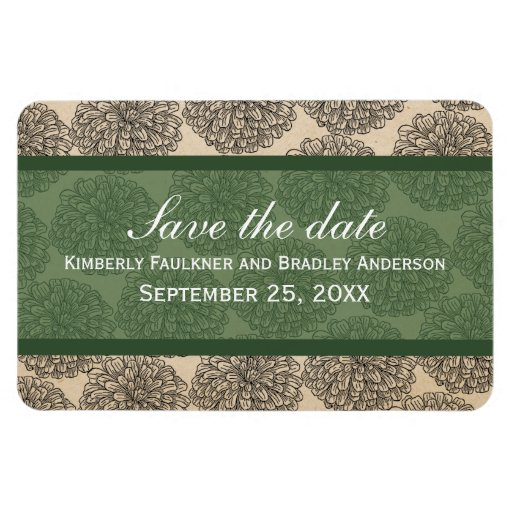 Vintage Zinnia Save the Date Magnet, Green