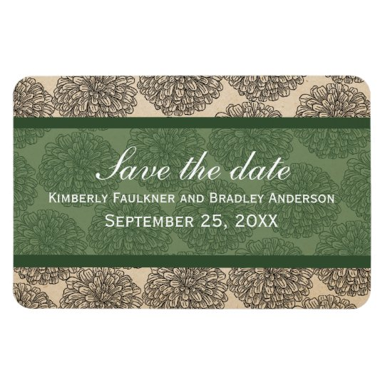 Vintage Zinnia Save the Date Magnet, Green Magnet