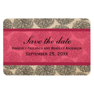 Vintage Zinnia Save the Date Magnet, Pink Magnet