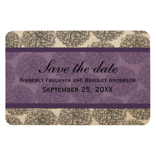Vintage Zinnia Save the Date Magnet, Purple Magnet