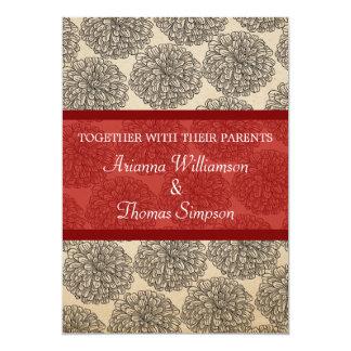 Vintage Zinnia Wedding Invite, Red Card