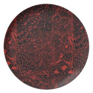 Vintage Zintangle Black on Red Design Dinner Plate