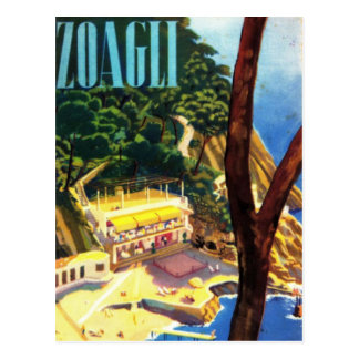 Vintage Zoagli Genova Italy Tourism Postcard