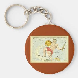 Vintage Zodiac, Astrology Aquarius Constellation Key Chain