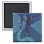 Vintage Zodiac, Astrology Aquarius Constellation 2 Inch Square Magnet