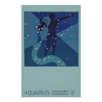 Vintage Zodiac Astrology, Aquarius Constellation Poster