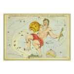 Vintage Zodiac, Astrology Aquarius Constellation Posters