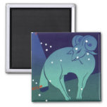 Vintage Zodiac, Astrology Aries Ram Constellation 2 Inch Square Magnet