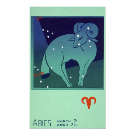 Vintage Zodiac, Astrology Aries Ram Constellation Poster