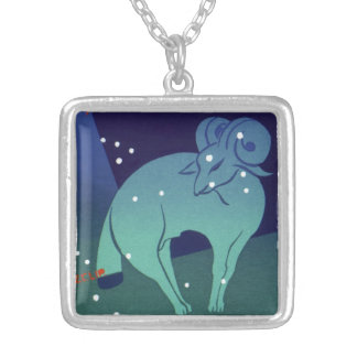 Vintage Zodiac, Astrology Aries Ram Constellation Square Pendant Necklace