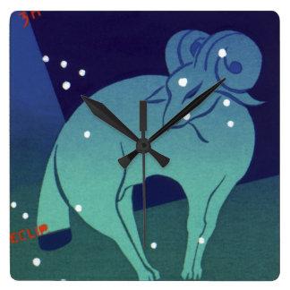 Vintage Zodiac, Astrology Aries Ram Constellation Square Wall Clock