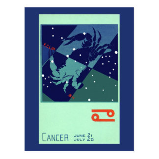Vintage Zodiac Astrology Cancer Crab Constellation Postcard