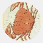 Vintage Zodiac Astrology Cancer Crab Constellation Classic Round Sticker