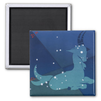 Vintage Zodiac, Astrology Capricorn Constellation 2 Inch Square Magnet