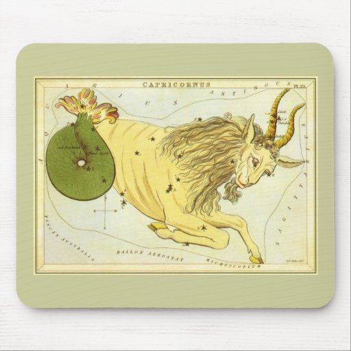 Vintage Zodiac, Astrology Capricorn Constellation Mouse Pad