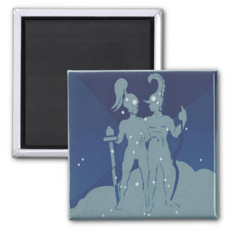 Vintage Zodiac Astrology Gemini Twin Constellation 2 Inch Square Magnet