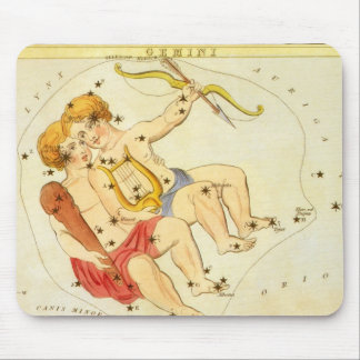 Vintage Zodiac Astrology Gemini Twin Constellation Mouse Pad