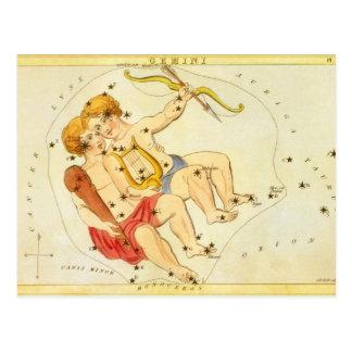 Vintage Zodiac Astrology Gemini Twin Constellation Postcard