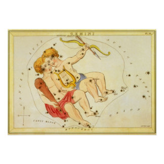 Vintage Zodiac Astrology Gemini Twin Constellation Poster
