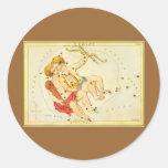 Vintage Zodiac Astrology Gemini Twin Constellation Round Sticker