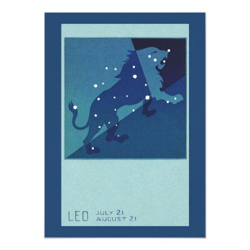 Vintage Zodiac Astrology Leo Lion Constellation Card