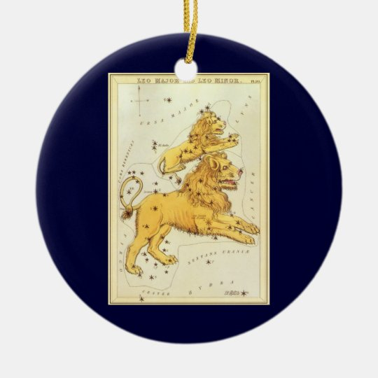 Vintage Zodiac, Astrology Leo Lion Constellation Ceramic Ornament