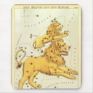 Vintage Zodiac, Astrology Leo Lion Constellation Mouse Pad