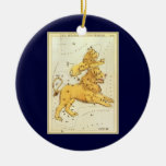 Vintage Zodiac, Astrology Leo Lion Constellation Double-Sided Ceramic Round Christmas Ornament