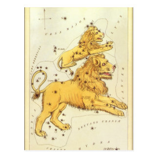 Vintage Zodiac, Astrology Leo Lion Constellation Postcard