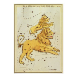 Vintage Zodiac, Astrology Leo Lion Constellation Poster