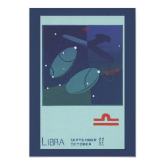 Vintage Zodiac Astrology Libra Scale Constellation Card