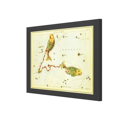Vintage Zodiac Astrology Pisces Fish Constellation Canvas Print