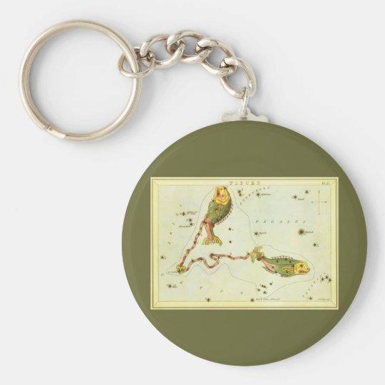 Vintage Zodiac Astrology Pisces Fish Constellation Keychain