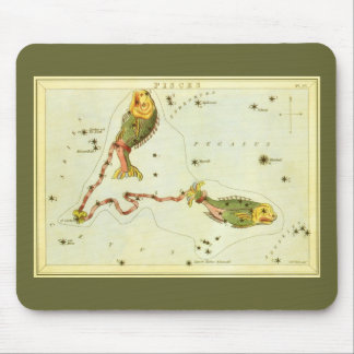Vintage Zodiac Astrology Pisces Fish Constellation Mouse Pad