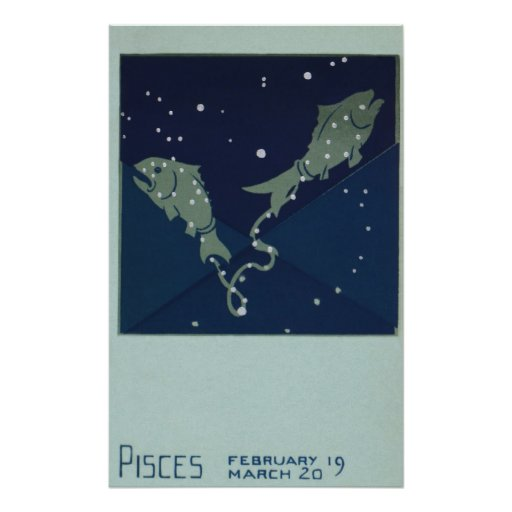 Vintage Zodiac Astrology Pisces Fish Constellation Poster