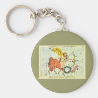 Vintage Zodiac Astrology Sagittarius Constellation Keychain