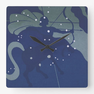 Vintage Zodiac Astrology Sagittarius Constellation Square Wall Clock