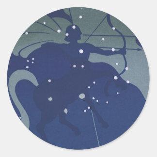 Vintage Zodiac Astrology Sagittarius Constellation Round Sticker