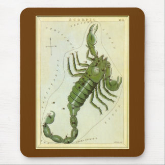 Vintage Zodiac, Astrology Scorpio Constellation Mouse Pad