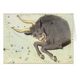Vintage Zodiac Astrology Taurus Bull Constellation Card