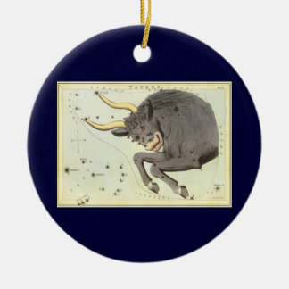 Vintage Zodiac Astrology Taurus Bull Constellation Ceramic Ornament
