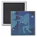 Vintage Zodiac, Astrology, Taurus Constellation 2 Inch Square Magnet