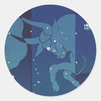 Vintage Zodiac, Astrology, Taurus Constellation Round Stickers