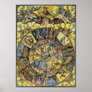 Vintage Zodiac Wheel, 1555 Posters