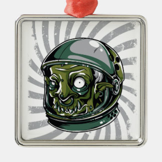 vintage zombie scary face metal ornament