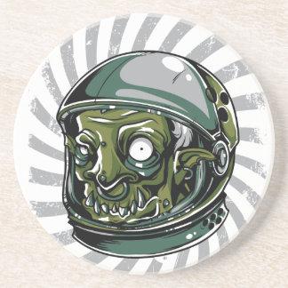 vintage zombie scary face sandstone coaster