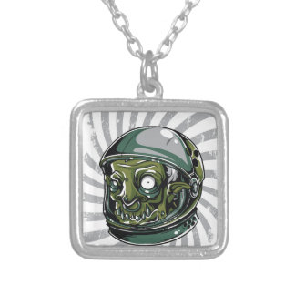 vintage zombie scary face silver plated necklace